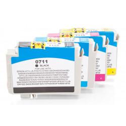 Korvaa Epson C13T07154010 / C13T07154012 / T0715  (4 x 11,4 ml) 4Kpl.